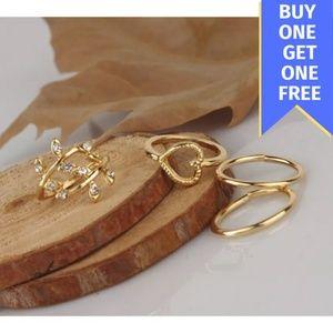 Jewelry - 4 Piece Set Gold Rhinestone Knuckle Midi Ring